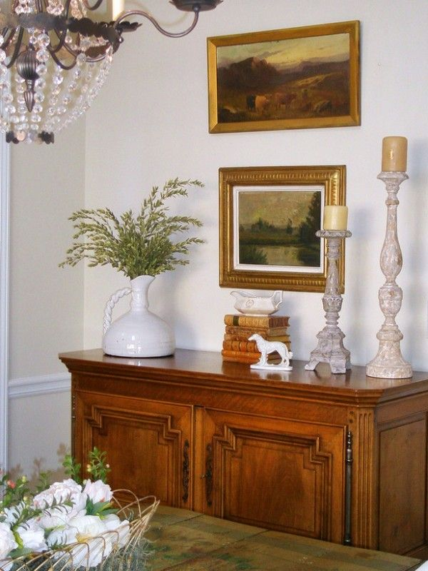 Remodelaholic how to decorate a buffet home decor for Dining room buffet table decorating ideas
