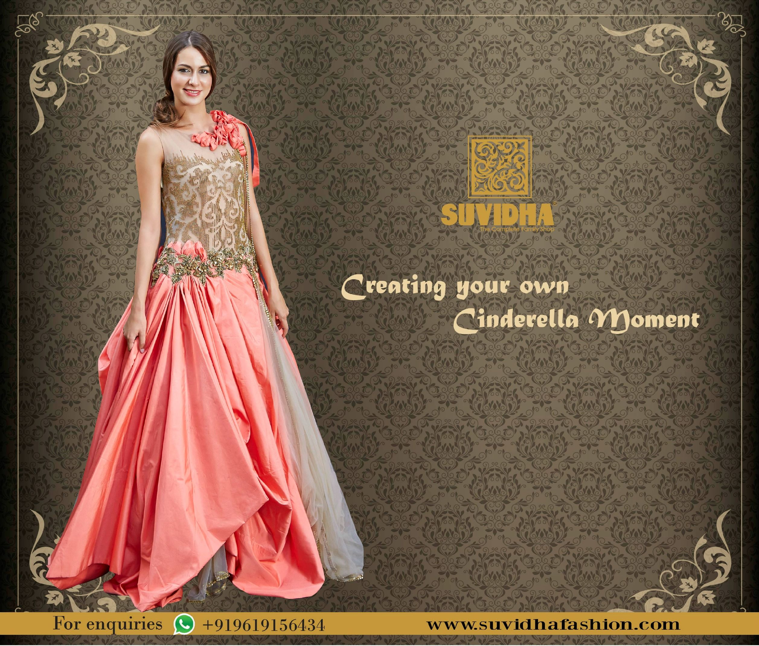 Suvidha Believes in making your fairy tales come true by turning you into a princess with our Royal Gown collection. Get your own cinderella moment with suvidha.  #WeddingSpecial #SuvidhaFashion #TheCompleteFamilyShop