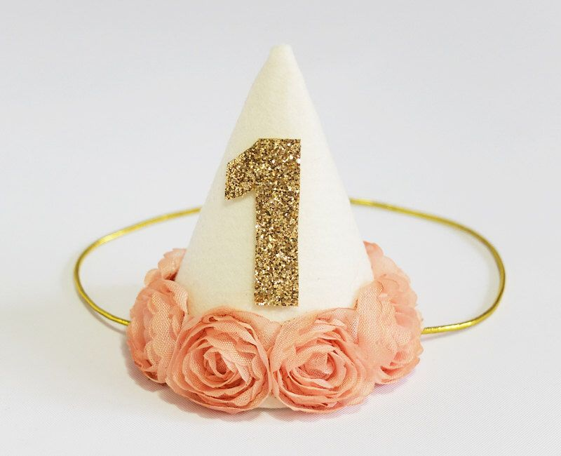Baby Girl First Second Birthday Party Cone Hat, Photo Prop, 1st Birthday, Kids Child Mini Flower Headband - Ivory by PetiteFetti on Etsy https://www.etsy.com/listing/204602233/baby-girl-first-second-birthday-party