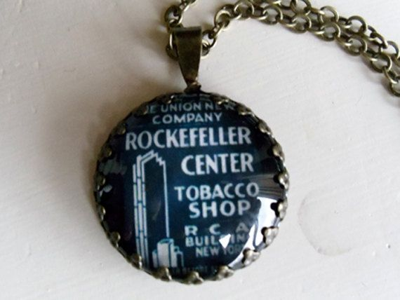 "Repurposed Vintage Advertising Art Pendant Necklace ""Rockefeller Center"""
