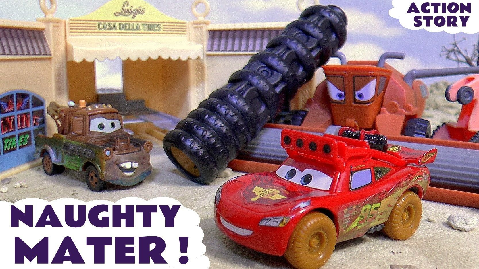 Disney Cars Toys Mcqueen Searches For Naughty Mater Who Annoys Frank F Disney Cars Toys Disney Cars Disney
