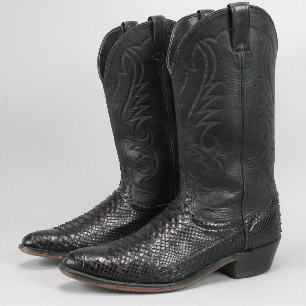 f9bbaef7e90c Men s Laredo Black Python Genuine Snakeskin Western Cowboy Boots 11 D   Laredo  CowboyWestern