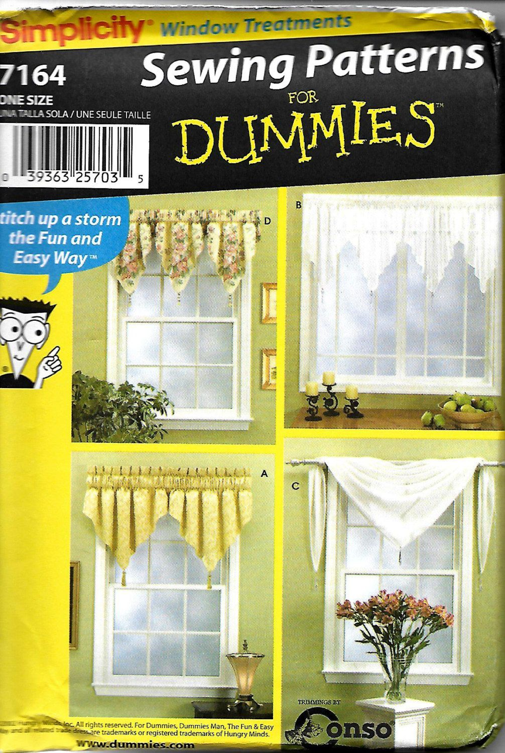 Simplicity 7164 Sewing Patterns For Dummies Window Treatments