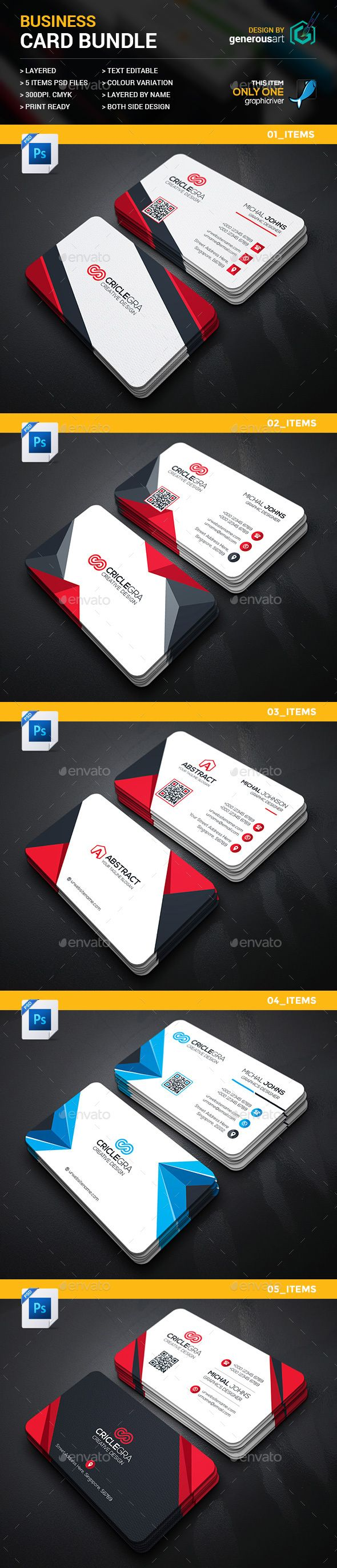 Business Card Bundle 5 in 1   Business cards, Card templates and ...