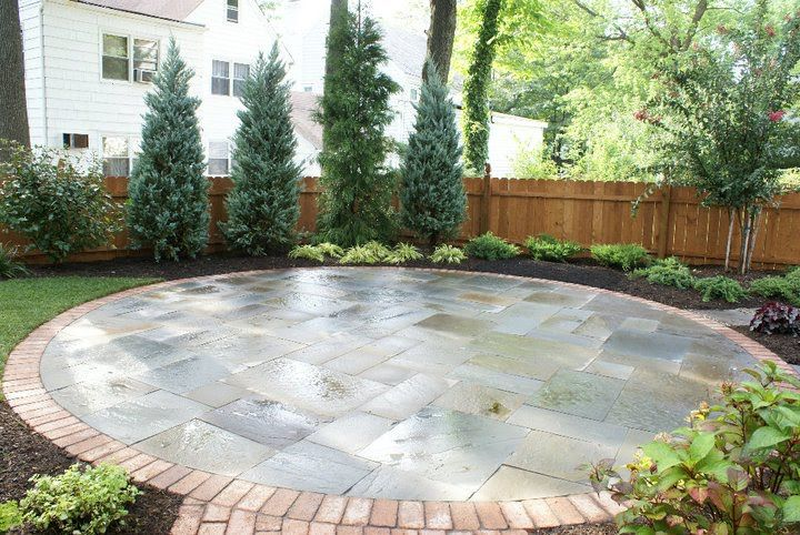bluestone patio with brick border like the front porch sidewalk - Bluestone Patio Ideas