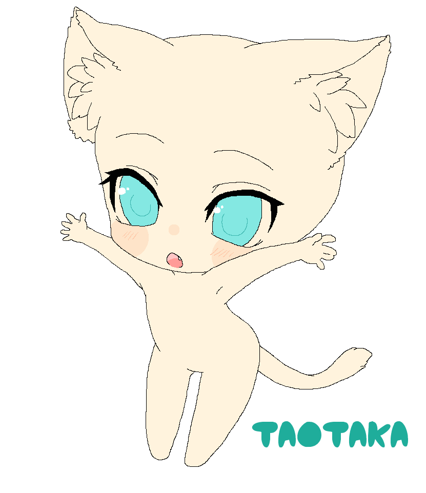 Taotaka 236 15 Chibi kawaii neko base in 2019 ChibiAnime Chibi Neko Base