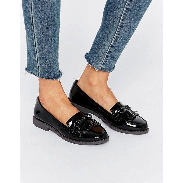 Carvela Black Patent Shiny Faux Leather Flat Loafer Shoes Tassel Fringe