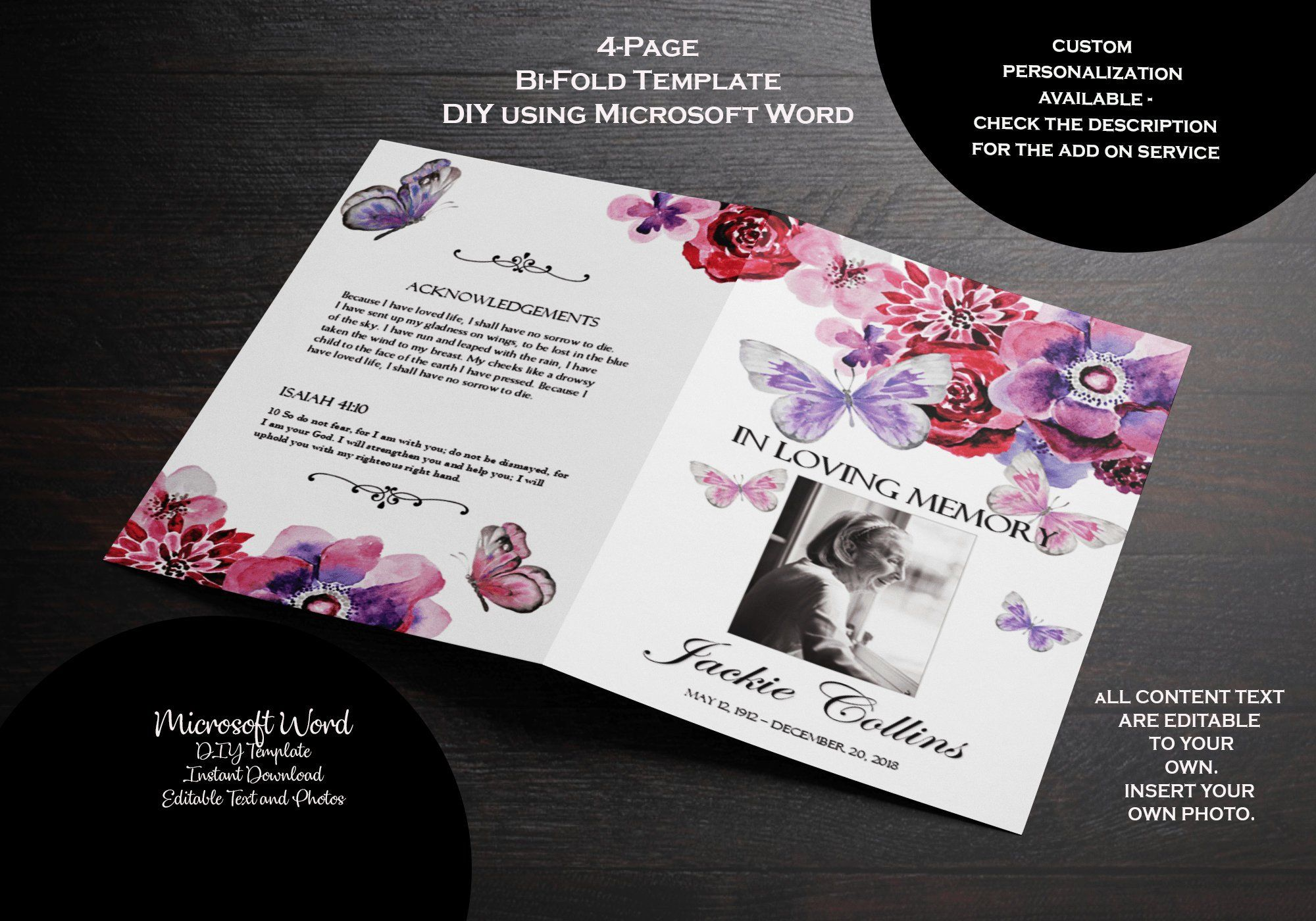 Printable Floral Memorial Service Editable with MS Word Funeral Stationery Template Red Leaves