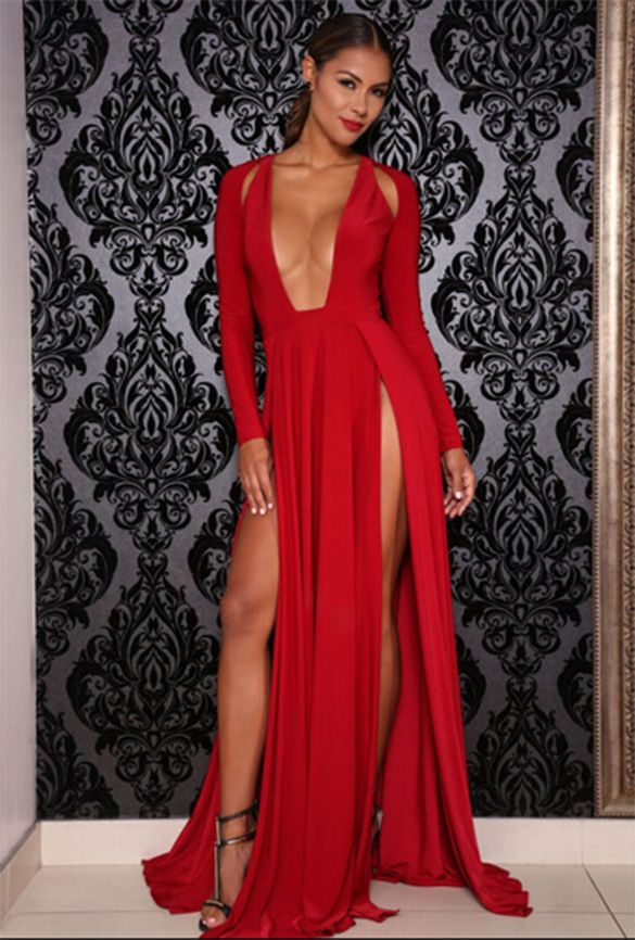 Image result for 2 slit dress. Celebrity Kim Kardashian Deep V Neck Long  Sleeve Split Prom Maxi Dress High Side Double Slit 6f1aa47d6