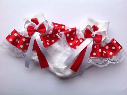 Red-polka-dot-baby-girls-frilly-socks-various-sizes