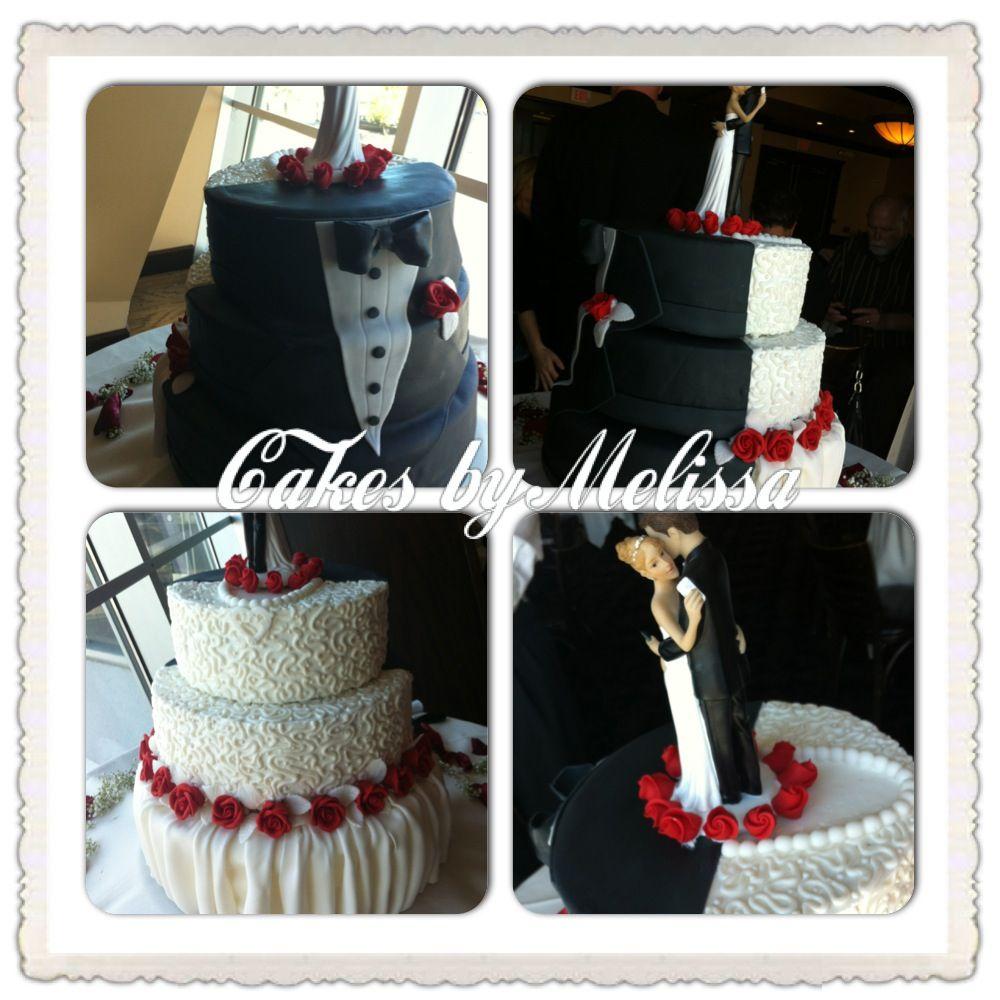 Bride Dress Groom Tux Cake