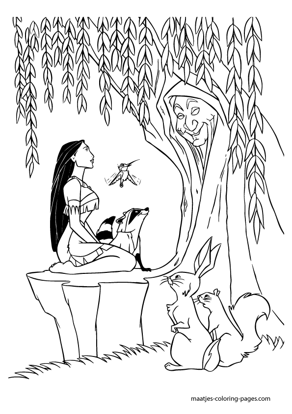 Coloring Page Willow Tree. Pocahontas introduces Smith to Grandmother Willow and avoids two other  crewmen however