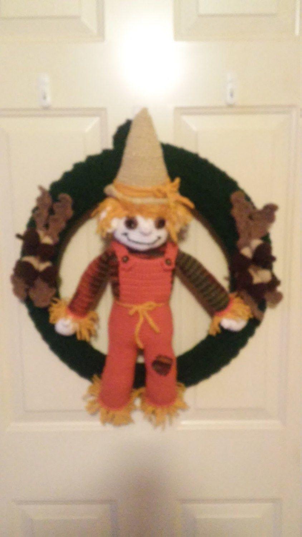 Photo of Crochet Wreath Fall / Halloween Scarecrow – Home & Living – Home Decor – Wall Hanger – Door Hanger – Handmade Decor