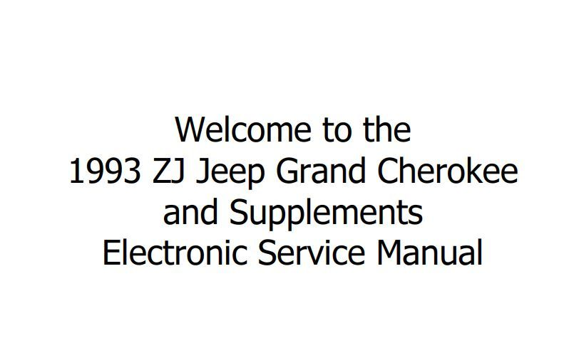 JEEP GRAND CHEROKEE, GRAND WAGONEER ZJ 1993 SERVICE MANUAL