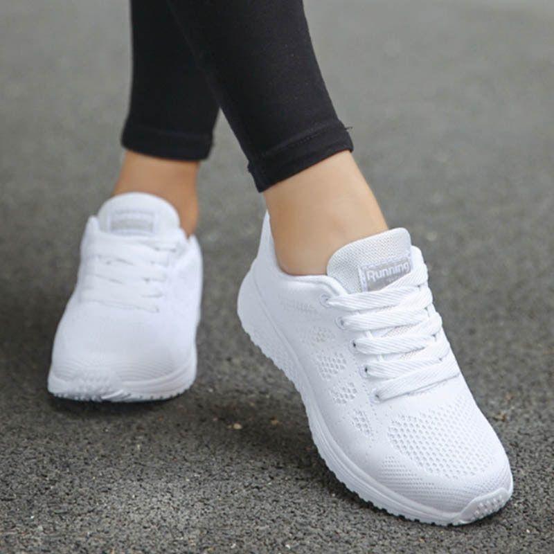 Ladies Sneakers Woven Mesh Breathable