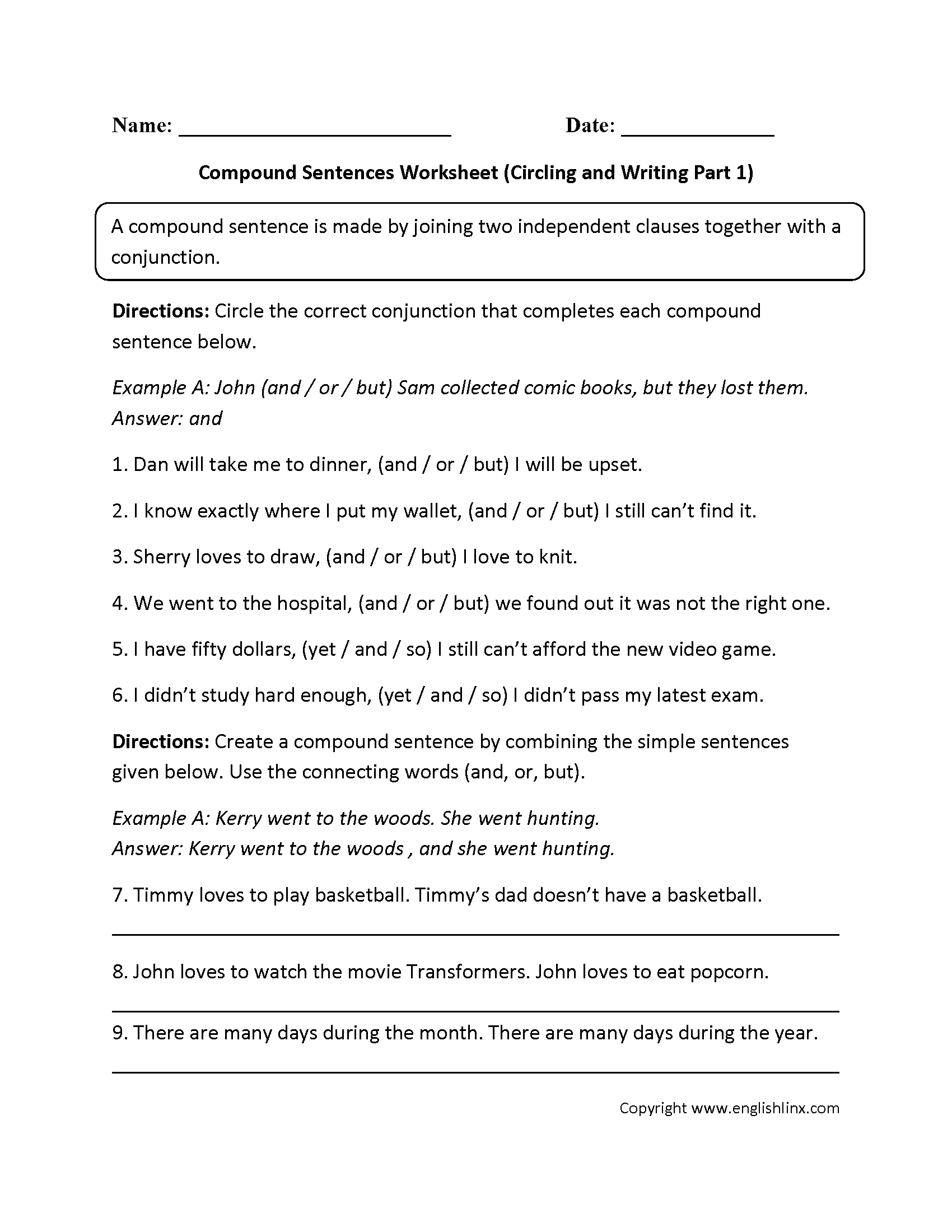Practicing Compound Sentences Worksheet