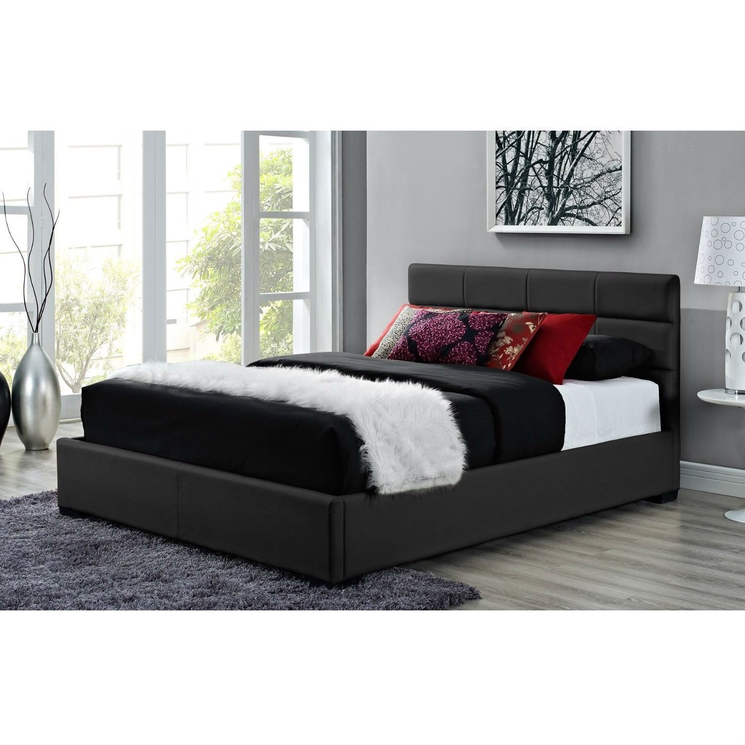 Queen Size Black Faux Leather Upholstered Platform Bed Frame With Headboard