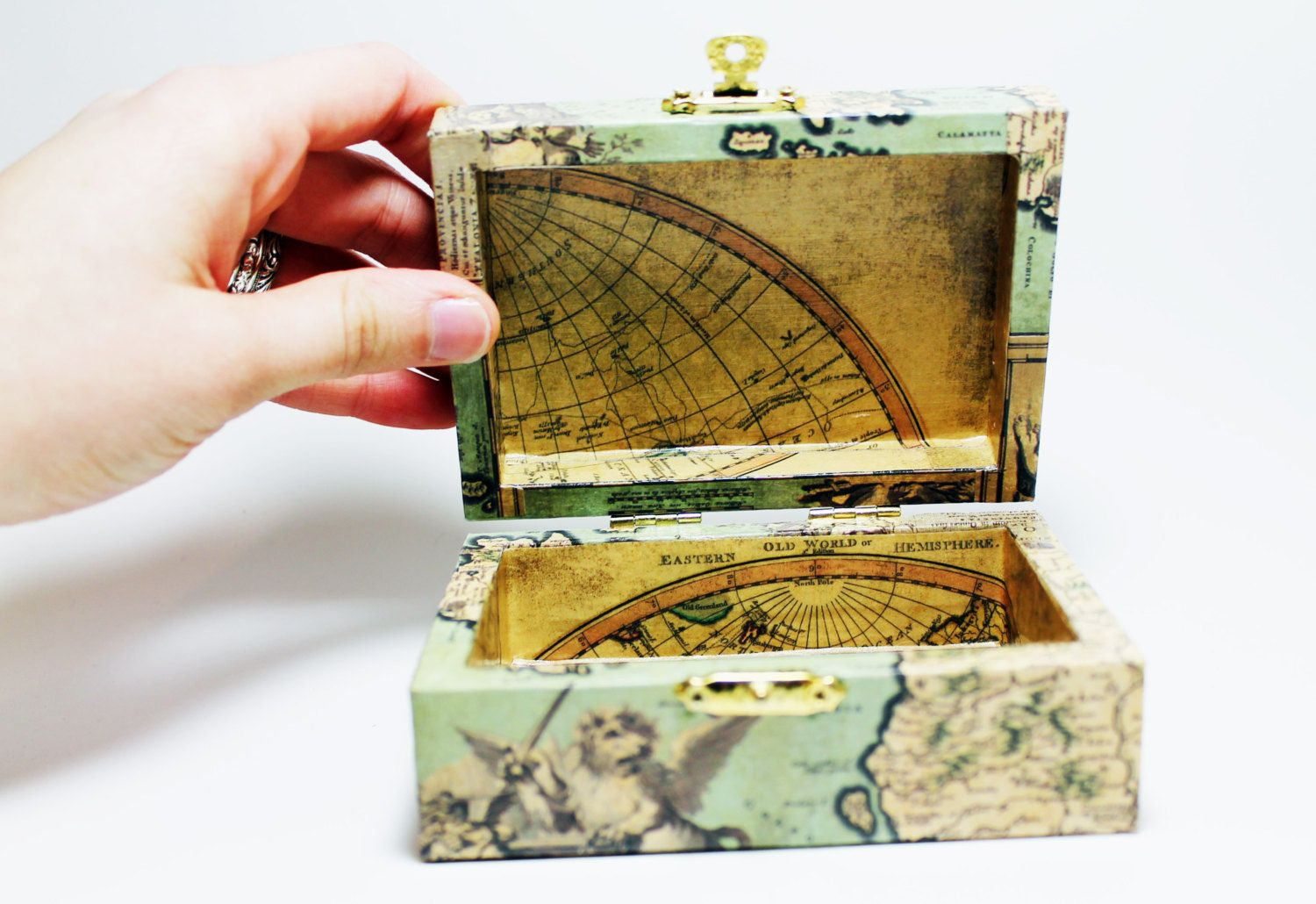 Antique Map Box Small Wooden Trinket Box Decoupaged With Antique - Antique map box