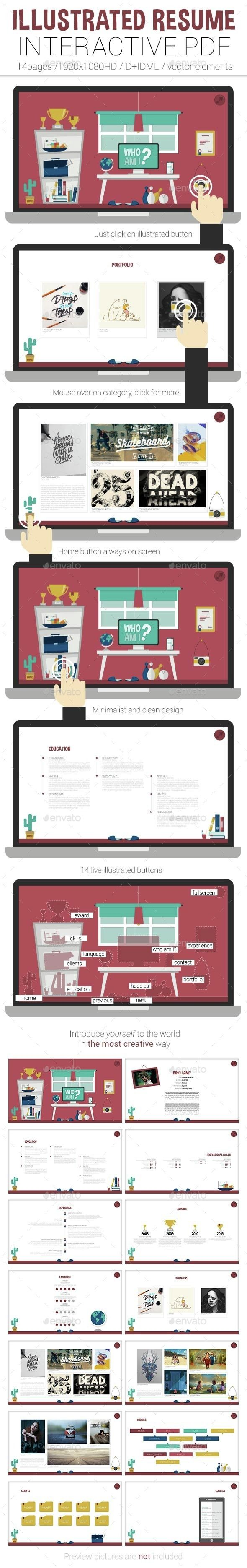 illustrated interactive pdf resume  interactive  pdf  portfolio  cv  resume  layout