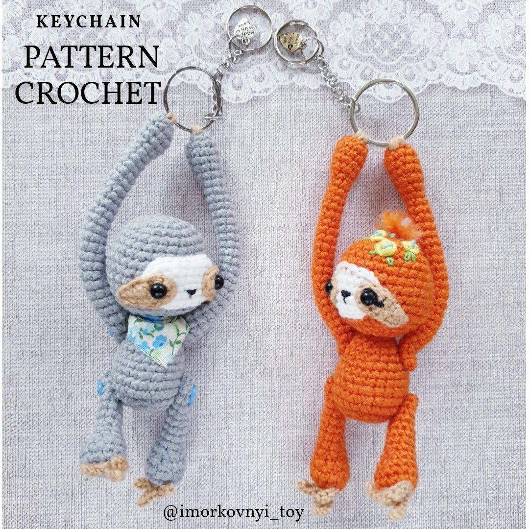 English and Russian keychain animal pattern pdf brooch Sloth crochet pattern