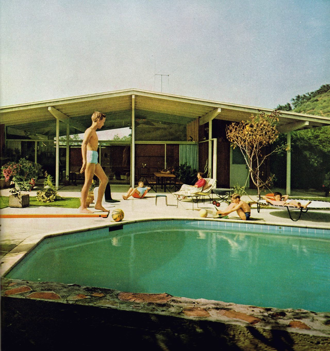California mid century modern house with backyard pool 1955