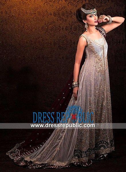 Smoke U-neck Long Shirt Dress Fuchsia By Xara Pakistani Bridal wear