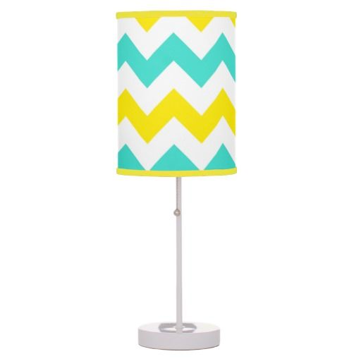 Turquoise and Yellow Zigzag Table Lamp