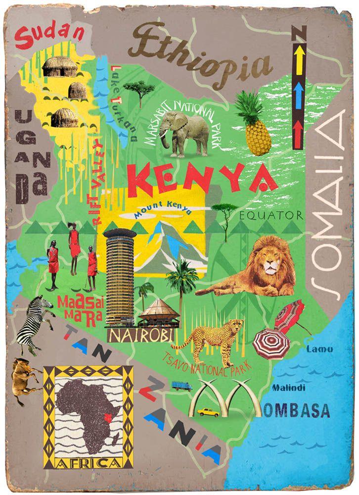 Illustrated Maps Kenya Illustrated Map Travel Infographic Kenya