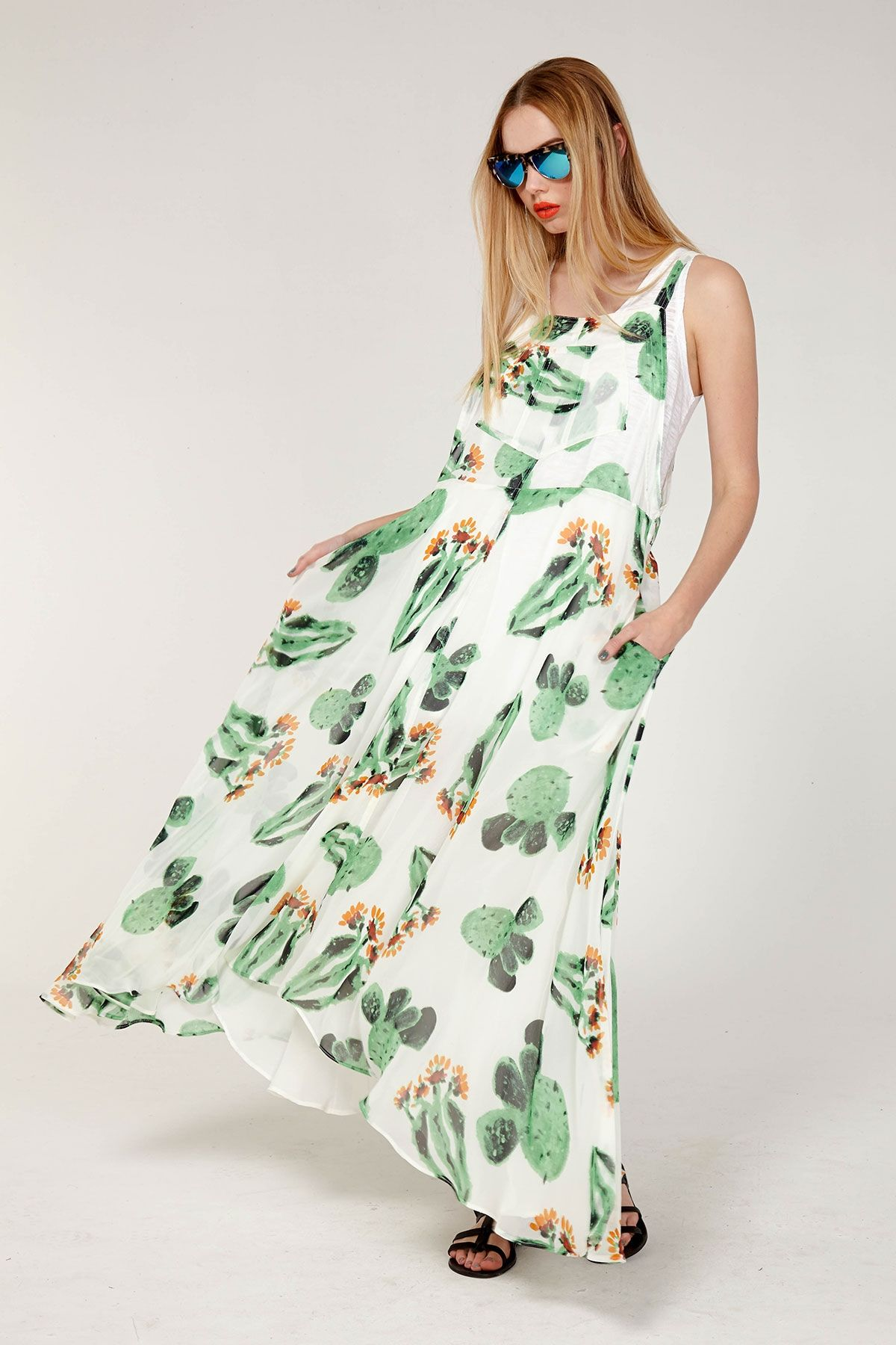 59d7ae852b MAD MAXI DRESS Modern Fashion, Style Fashion, Cactus Flower, Spring Dresses,  Cacti