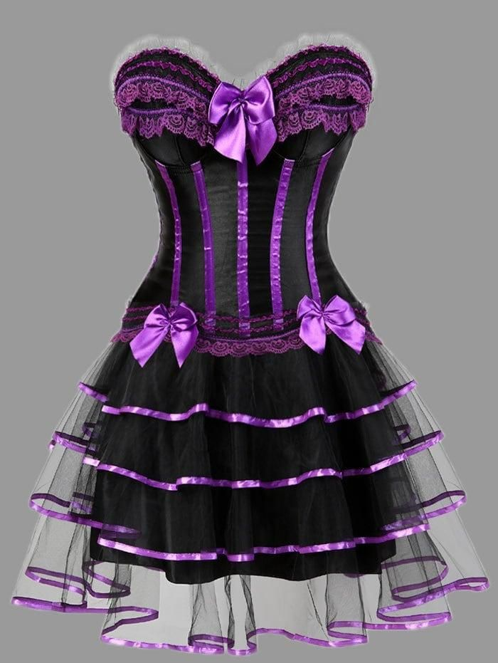 Dresslily Dresslily Plus Size Ruffles Two Piece Corset Dress