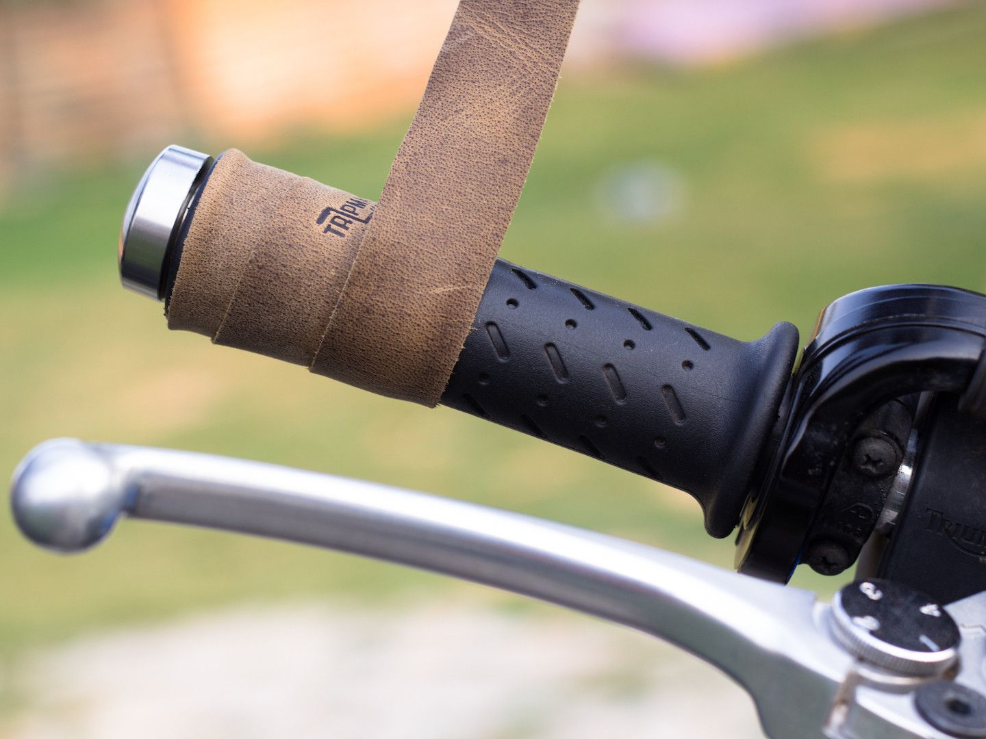 Trip Machine Company Leather Motorcycle Grips Wrap Tobacco Brown