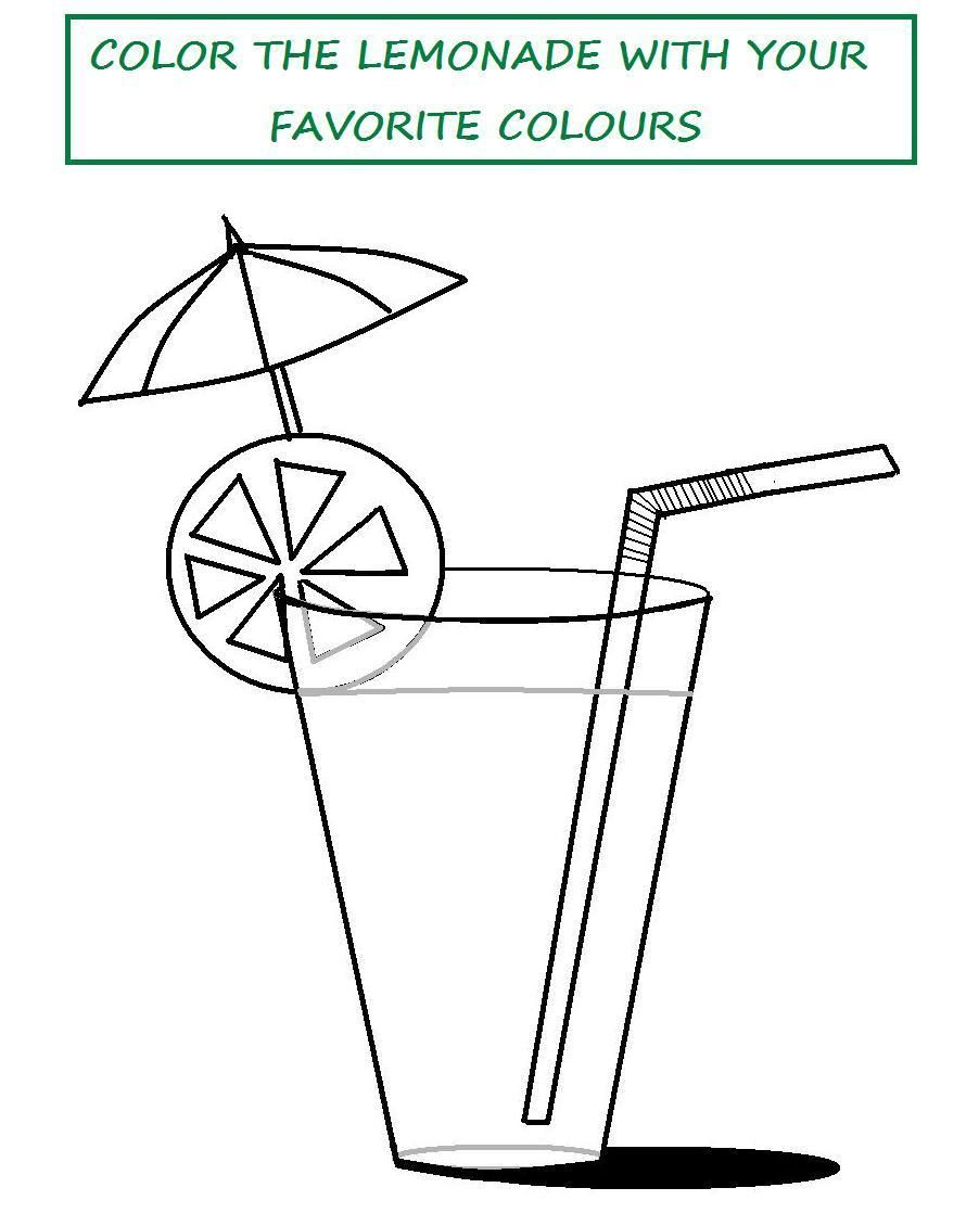 flip flop coloring pages | Tasty lemonade coloring printable page ...