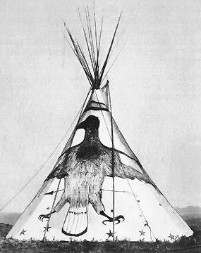 Crow design on tipi, Crow tribe , Sioux Nation