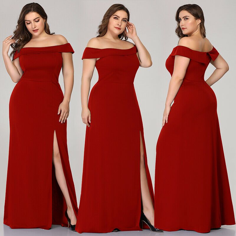 Ever-Pretty Off Shoulder Long Evening Dresses Bodycon Side Split Homecoming Gown