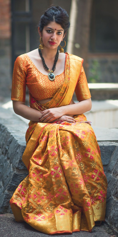 Buy arresting yellow colored festive wear designer woven