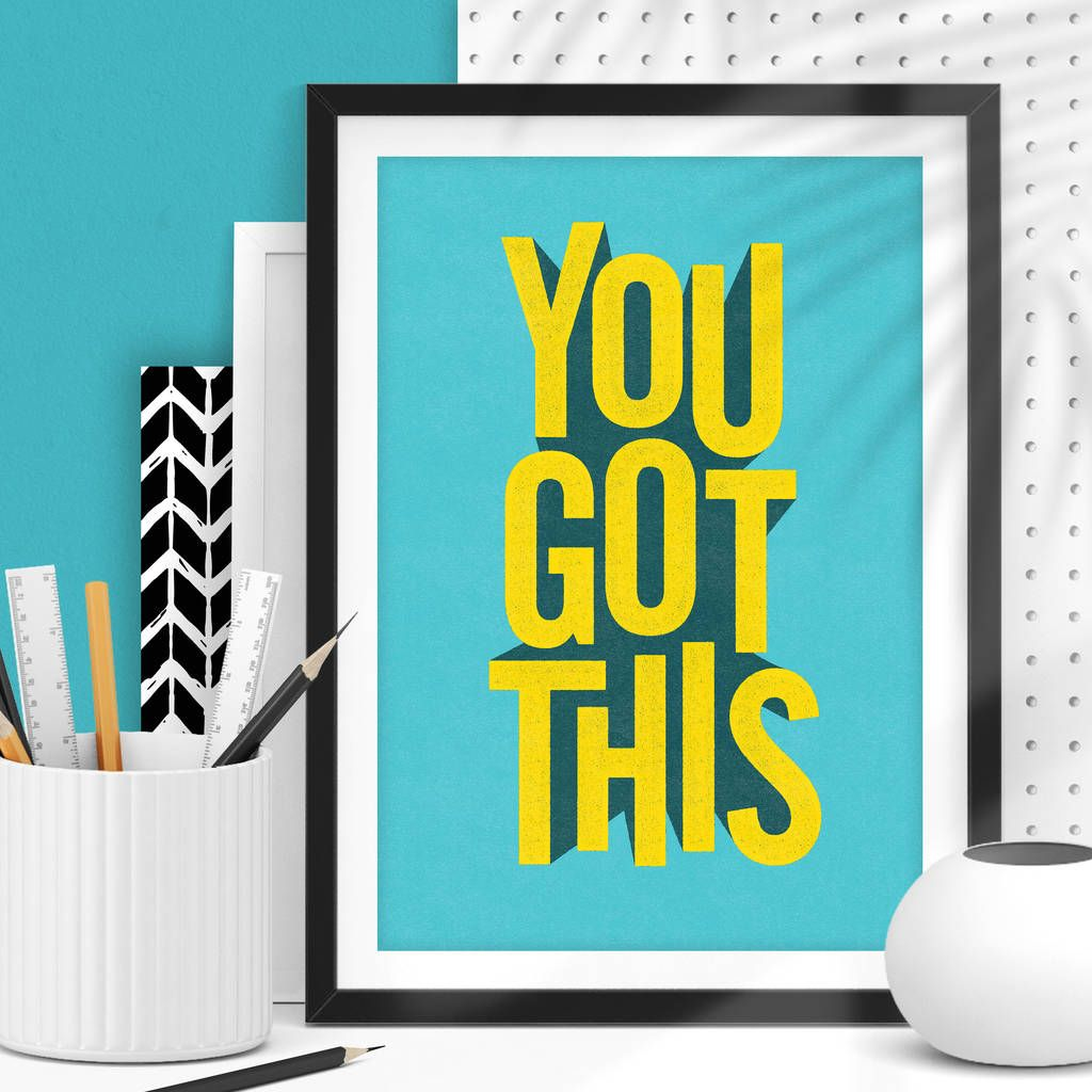 'You Got This' Blue Yellow 3D Typography Print #3dtypography