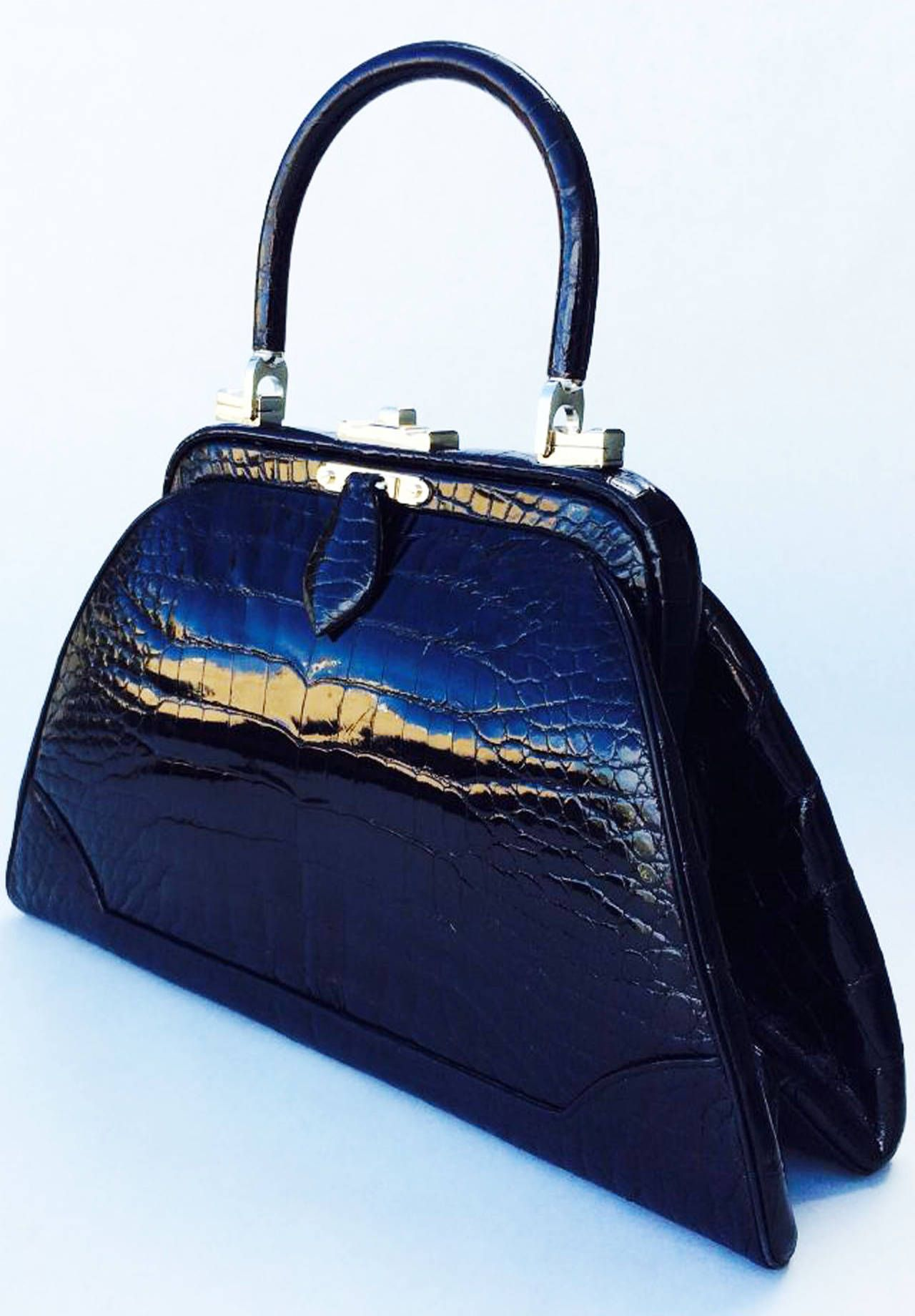 fe0fd12b0bc810 Judith Leiber Porosus Crocodile Handbag 1970s | From a collection of rare vintage  handbags and purses
