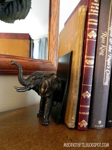 Animal bookends from dollar store materials