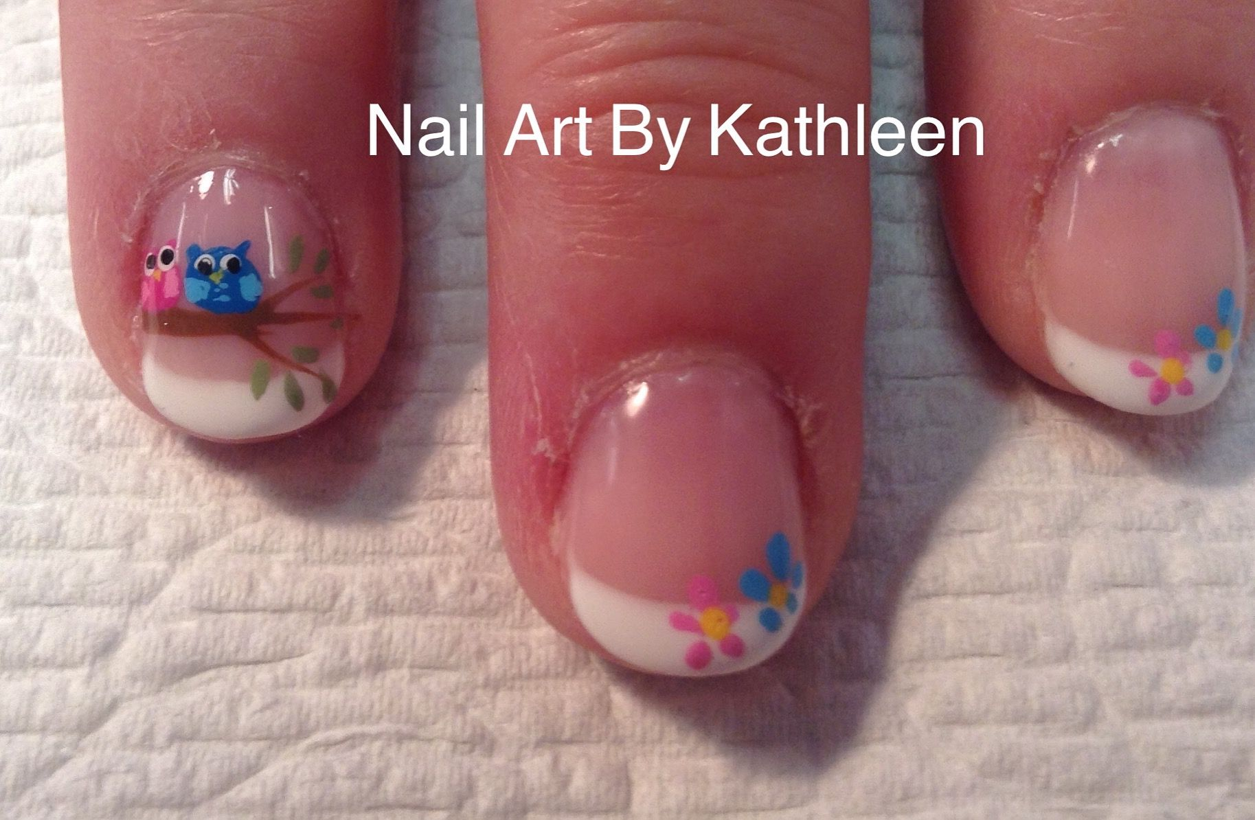 Boy And Girl, Pink And Blue Owls, Twins Baby Shower Nails