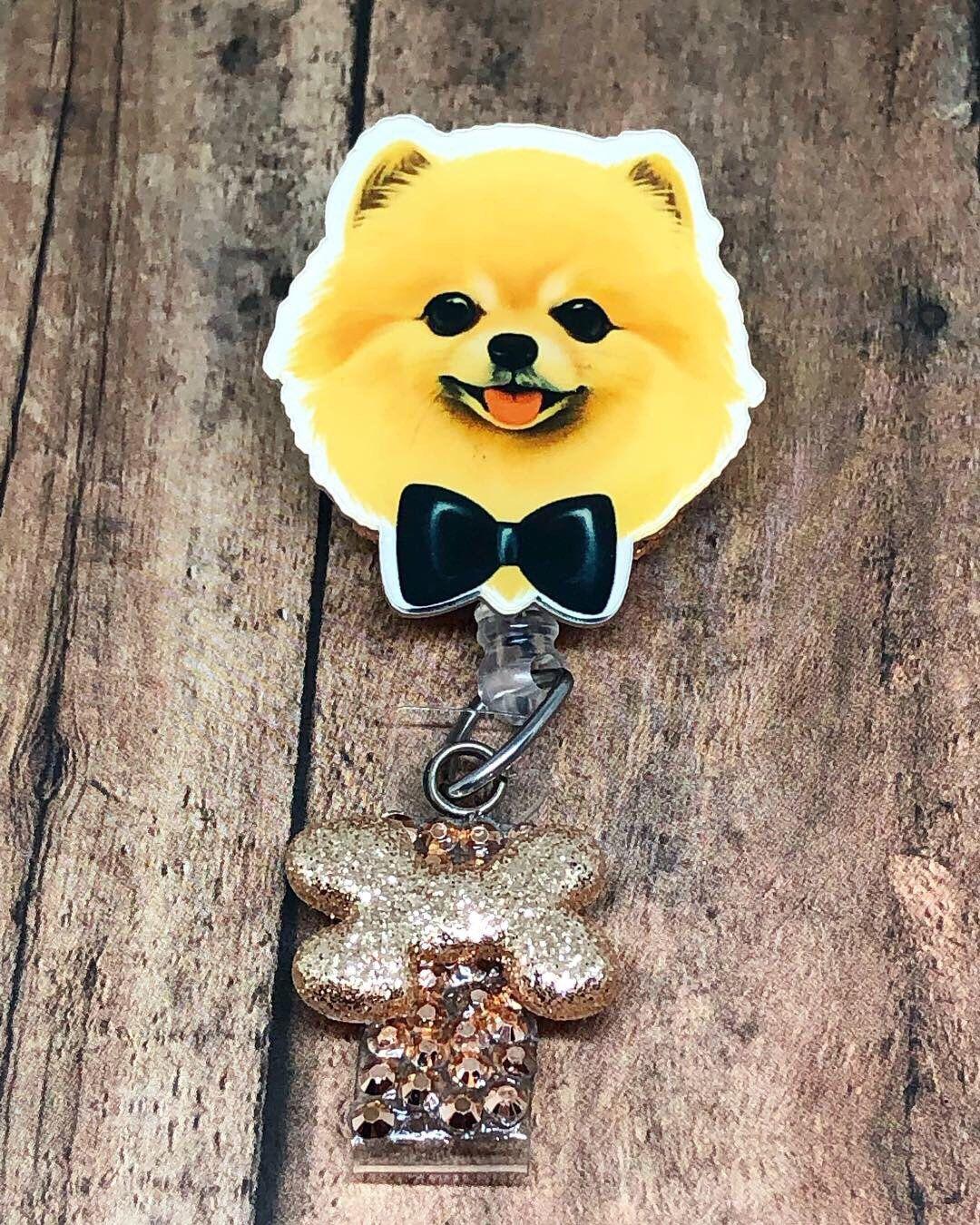 Adorable Pomeranian Dog ID Badge Reel - Retractable ID Name Badge