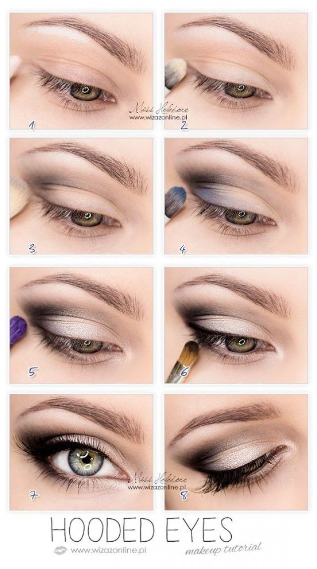 Makeup for hooded eyelids. Concentrate the darkest eyeshadow color into the crease of the lid and don't blend out too much. You will accentuate your eyes ...