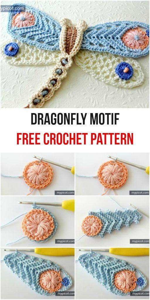 Dragonfly Motif Free Crochet Pattern | Crochet | Pinterest ...