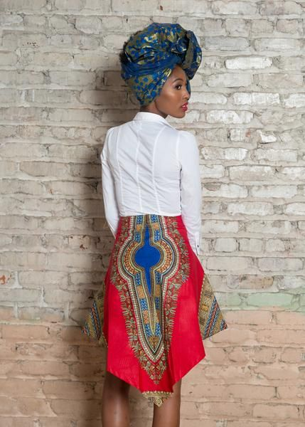 Dashiki African Print V Skirt - Red Style UniqueAsymmetrical Dashiki print design will turn heads everywhere you go. *The table below can help you determine t