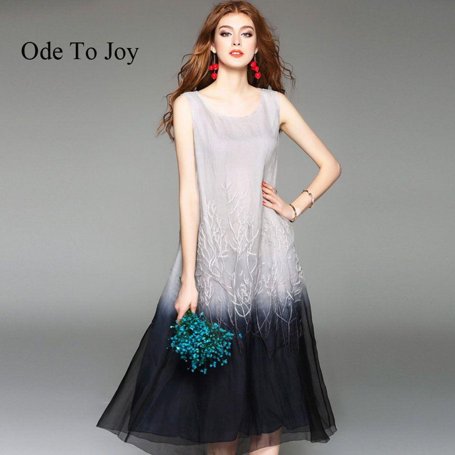Ode to joysilk solid summer dress women natural sleeveless