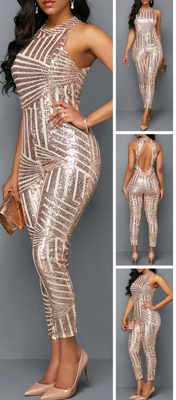 984263652cf2 Sleeveless Pink Metallic Round Neck Skinny Jumpsuit .Turn heads this  holiday season in jumpsuit from