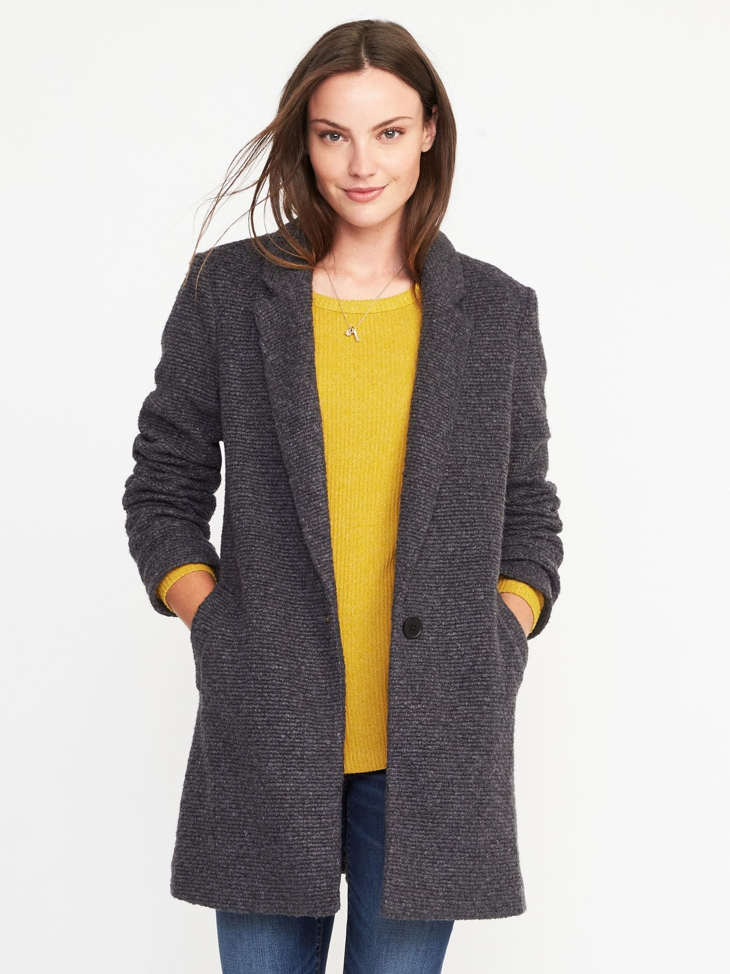 b1c905b6f1bb74 Textured-Bouclé Everyday Coat for Women | Old Navy | Closet Needs ...