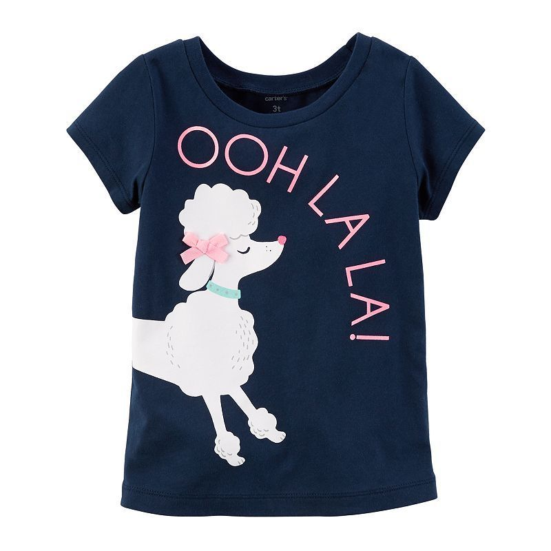 """Toddler Girl Carter's """"Ooh La La"""" Poodle Wrap Graphic Tee, Size: 4T, Blue"""