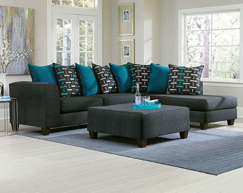 The watson big two piece sectional sofa is outfitted in a - Grey and blue living room furniture ...