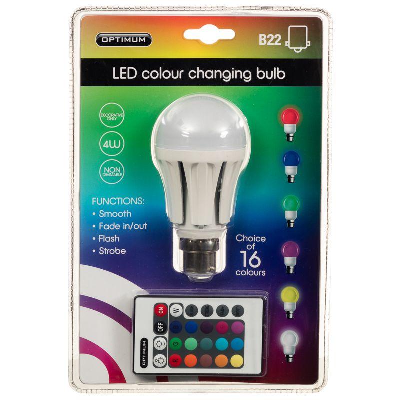 Optimum Led Colour Changing Light Bulb B22 Features 4w Power 16 Colour Functions 4 Transition Modes Light I Led Light Bulbs Bulb Color Changing Light Bulb