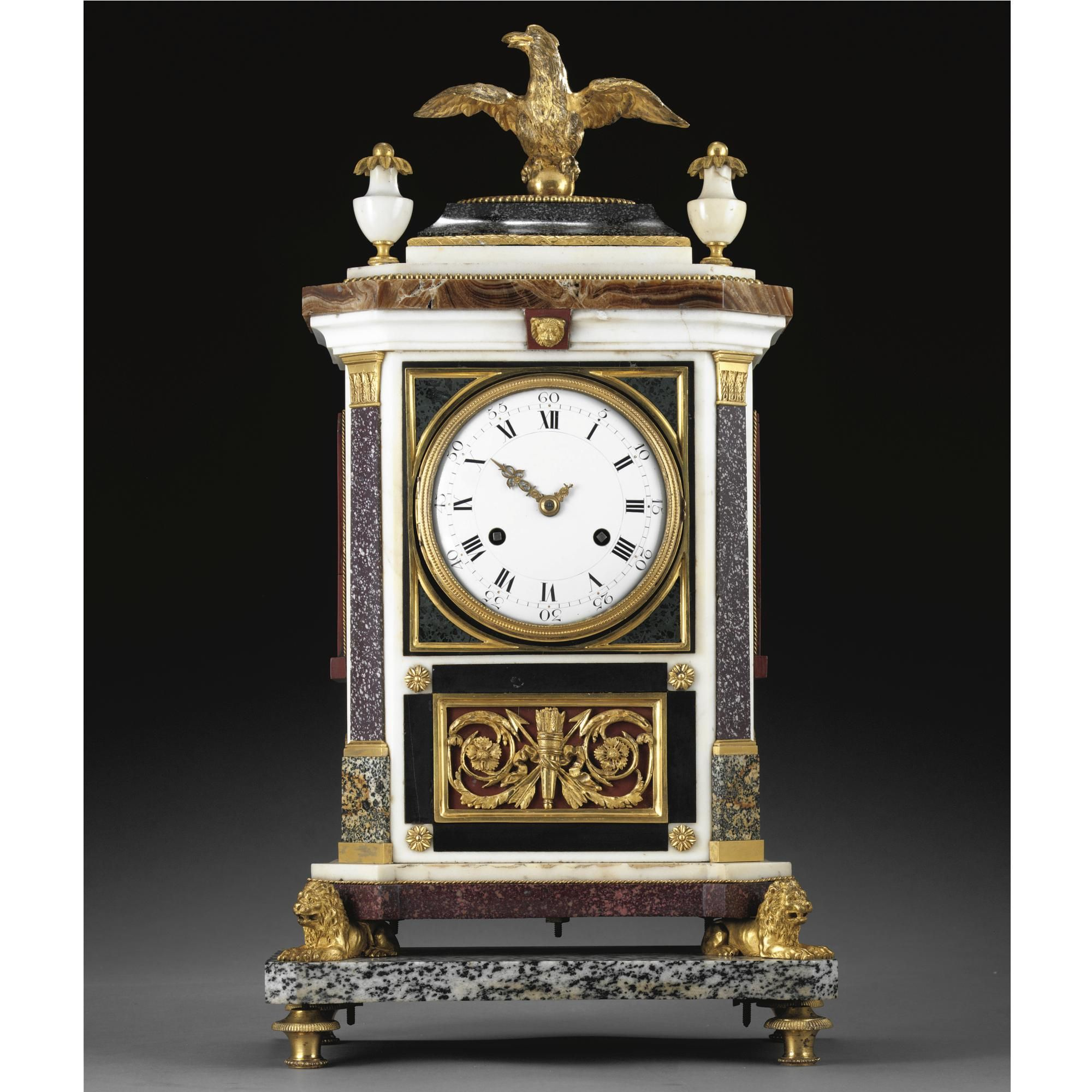 An Italian Neo Classical Gilt Bronze Mounted White Marble Porphyry And Granite Mantel Clock Workshop Of Luigi And Giuseppe Mantel Clock Clock Antique Clocks